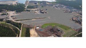 Bildmontage som visar hur det kan se ut på stålverkets område i Koverhar efter rivningen.