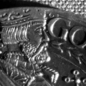 Kuvassa Kustaa Vaasa kolikon kuvassa.