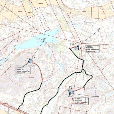 En karta över den planerade vindkraftsparken vid Gumböleberget i Olsböle i Tenala.