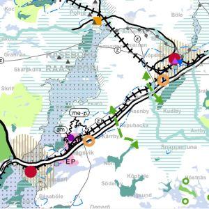En planläggningskarta över Karis och Ekenäs.