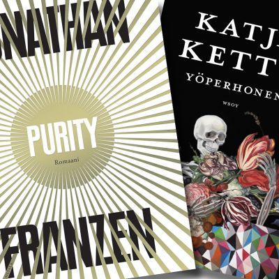 Jonathan Franzenin Purity-kirjan ja Katja Ketun Yöperhosen kannet