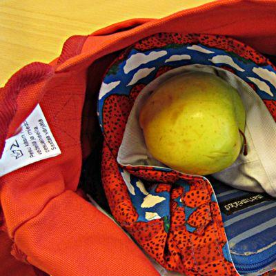 Naisen käsilaukusta voi löytyä muun muassa kurkkupastilleja, hattu ja omena.
