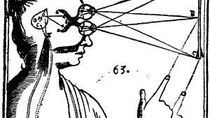 Descartes har skissat bild av hur tänkandet och kroppen sammanstrålar. Teckning,