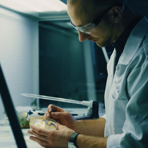 Lauri Reuter laboratoriossa.