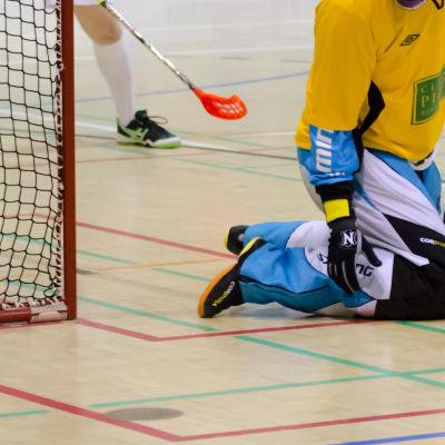 Målvakt på knä framför målet.