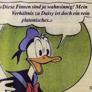 Lehtileike Aku Ankan housuttomuuskohusta berliiniläisessä TAT-Zeitungissa (1978).
