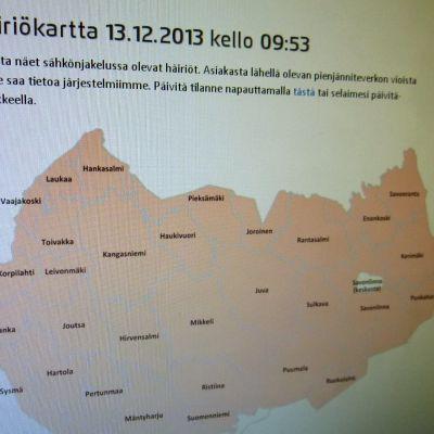 Järvi-Suomen Energian nettisivuilla oleva häiriökartta.