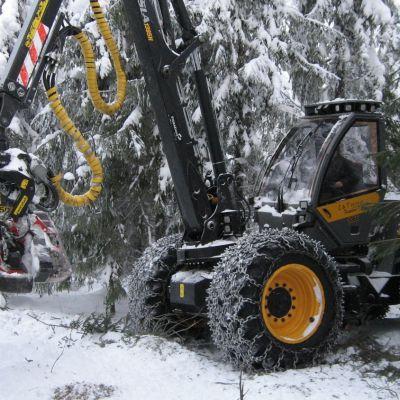 Metsäkone kaataa puita talvisessa metsässä.
