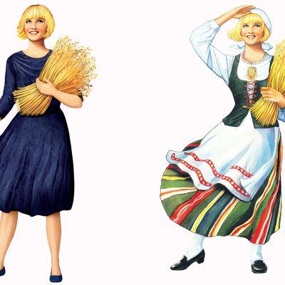 Elovena-tyttö uudessa sinisessä mekossa ja vieressä vanha kansallispukuinen Elovena-tyttö.