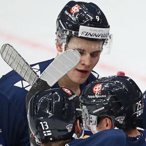 Lejonen jublar efter Jesse Puljujärvis mål.