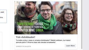 Skärdump på en reklam från De Gröna.