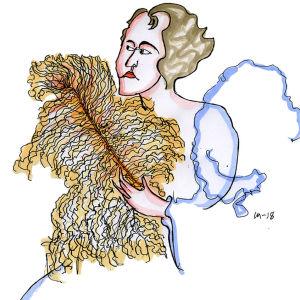 Lassi Rajamaan piirros oopperalaulaja Lea Piltistä.