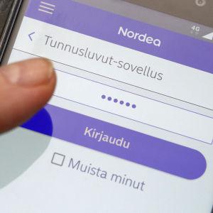 Nordeas nätbank i mobil.