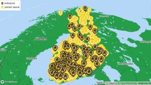 kartta, jossa saunojen kuvia