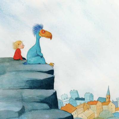 """Illustration ur Cara Knuutinens bilderbok """"Molly och kelenken""""."""