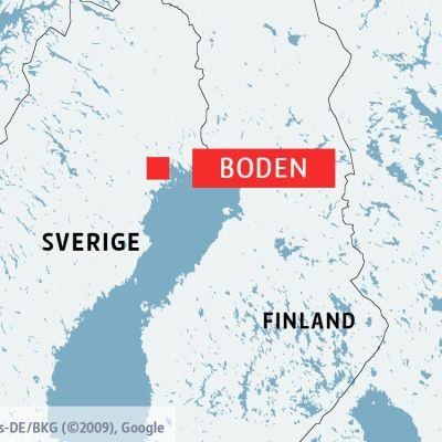 En karta som visar Boden i Sverige