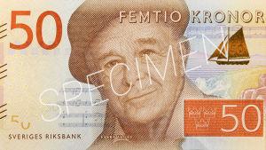 Evert Taube pryder 50-kronorssedeln