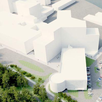 Modell av hur området vid Vasa centralsjukhus kommer att se ut år 2022.