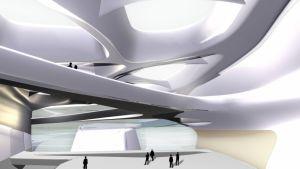 Zaha Hadids plan för Guggenheim ser vit och futuristisk ut.