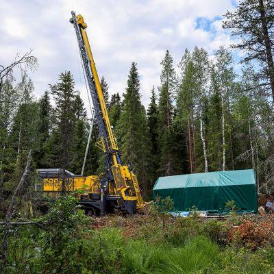 Kairauskone työskentelee metsässä.