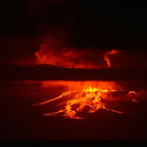 Vulkanen Wolf på en av Galápagosöarna har haft ett utbrott för första gången på 33 år.
