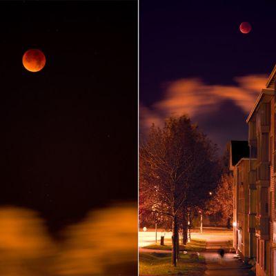 Kaksi valokuvaa superkuusta Oulun keskustassa kello 5.54.