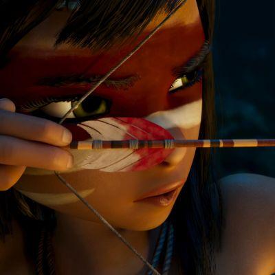 Närbild av Ainbo som spänner sin båge.