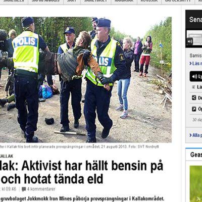 Poliserna förde bort aktivister från gruvområde i Norrbotten