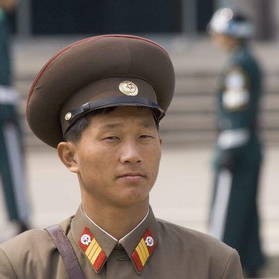 Pohjoiskorealainen sotilas katsoo kameraan. Takana epäselvänä hahmona Etelä-Korea sotilas.
