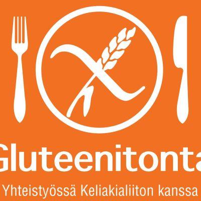 Gluteenittomasta palvelusta kertova oranssi-valkoinen merkki, jossa haarukka ja veitsi yhdessä gluteenittomuudesta kertovan merkin kanssa.