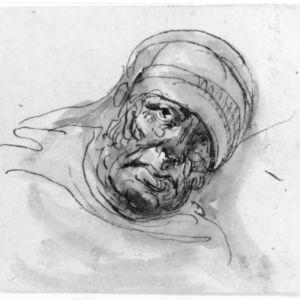 Elias Martinin maalaus Liggande sjuk gubbe i mössa.
