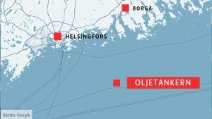 Karta som visar Helsingfors, Borgå och en punkt i Finska viken.