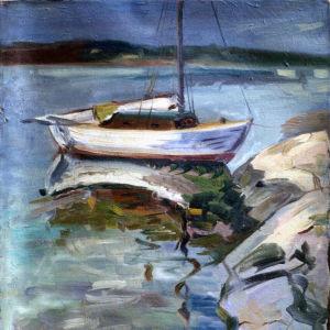Ensam båt i natten 1958 av Erik Aschan-Rauthovi