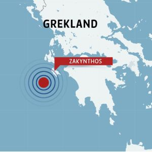 Karta över Grekland med ön Zakynthos.