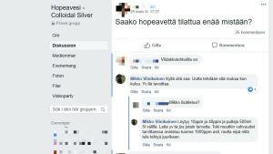 Diskussion om silvervatten i Facebookgruppen Hopeavesi - Colloidal Silver.