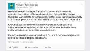Kuvakaappaus Pohjois-Savon opiston Facebook-statuksesta