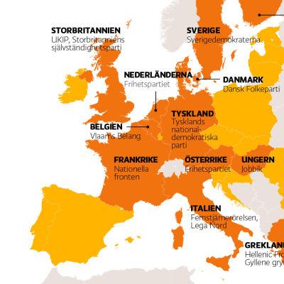 Karta över Europa med de EU-kritiska partierna