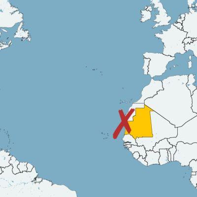 Karta där Mauretanien är gulmarkerat. Ett rött x markerar plats för olycka.