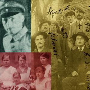 Kuvakollaasi: Jääkäreitä viedään Saksan itärintamalle 1916/1917. Punakaartin sairaanhoitajia 1918. Loimaalaisia nuorukaisia punakaartiin lähdön edellä.