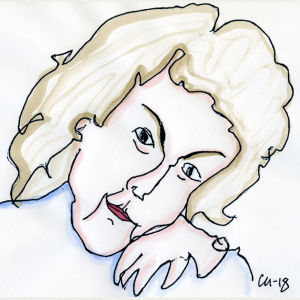 Lassi Rajamaan piirros laulunopettaja Liisa Linko-Malmiosta.