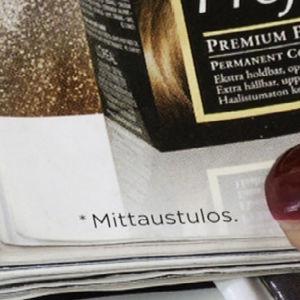Kuva lehden alareunassa olevasta tähdestä, jonka alla lukee mittaustulos.