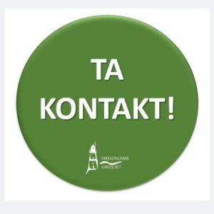 """En bild av en virtuell grön knapp där det står """"Ta kontakt""""."""
