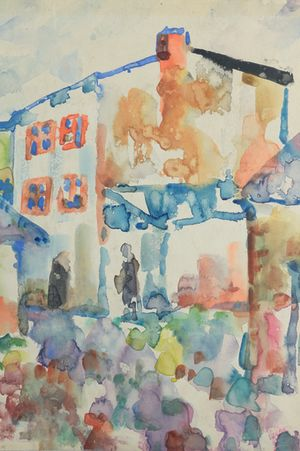 Josef Kowner: Eine Straße im Ghetto von Łodz / A Street in Łodz Ghetto (1941)