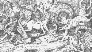 Tor som möter Midgårdsormen och Oden som rider fram mot Fenrisulven. Målning av Johannes Gehrts.