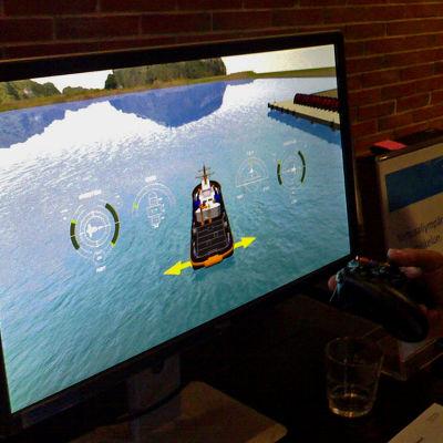 VTT:s simulator för båtbogsering.