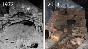 Ugnsmordshusets ugn 1972 och 2014.
