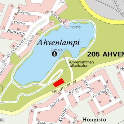 Katukartta Joutsenossa sijaitsevan Ahvenlammen ympäristöstä.