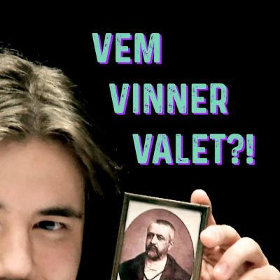 Ung man visar Victor d´Hondts bild.