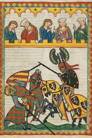 Vanhassa maalauksessa kuvattu kaksi ritaria hevosineen taistelemassa toisiaan vastaan. Ylhäällä yleisöä katsomassa.