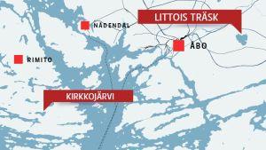 Karta över Kirkkojärvi i Rimito och Littois träsk